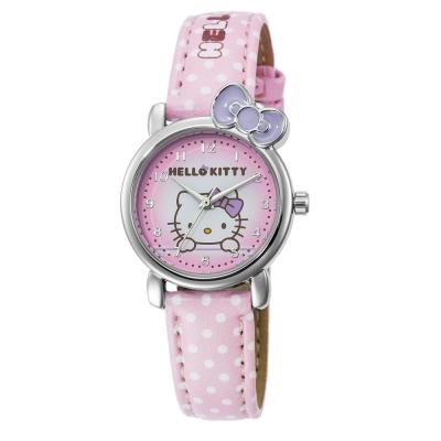 HELLO KITTY 凱蒂貓嬌滴圓點蝴蝶結手錶-粉紅x紫/27mm