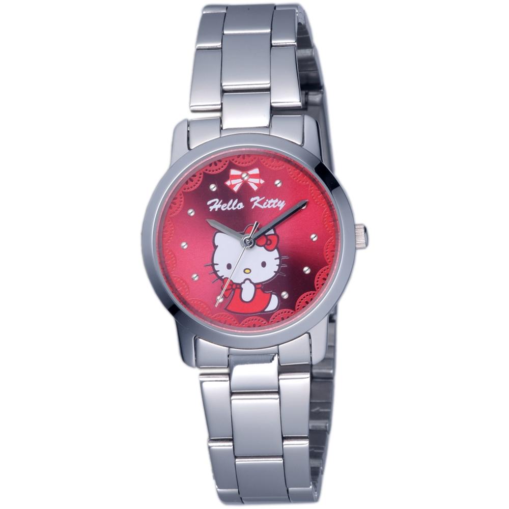 HELLO KITTY 凱蒂貓可愛滿分俏麗手錶-紅/30mm