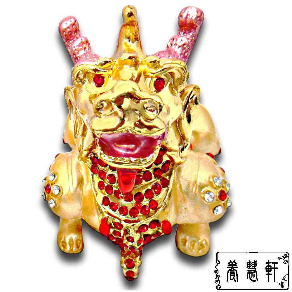 養慧軒 銅鎏金 招財金貔貅+水鑽 聚寶盆擺件( 單隻,身長8公分)