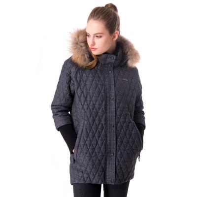 【hilltop山頂鳥】女款超撥水保暖蓄熱羽絨長大衣F21F70黑灰印花