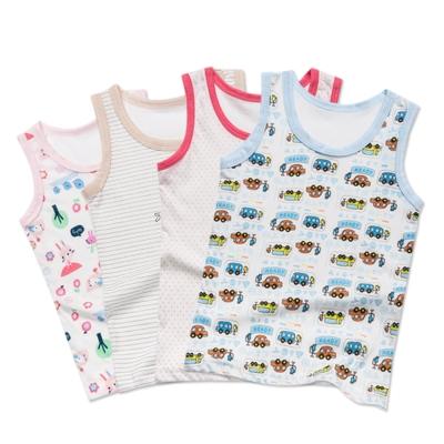 嬰兒 無袖背心上衣-隨機花色任3入/組