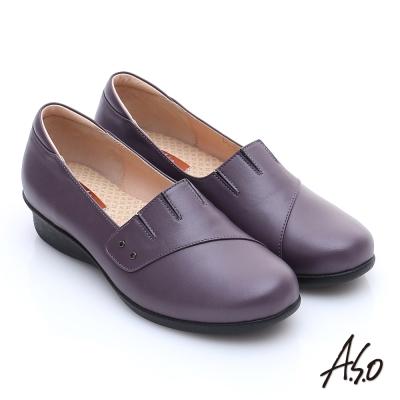 A.S.O 活力勁步 珠光牛皮奈米氣墊鞋 紫