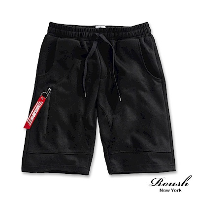 Roush 側邊防水拉鍊運動短棉褲(2色)