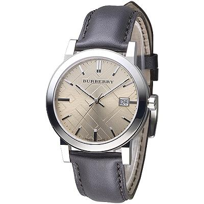 BURBERRY 倫敦精品幾何圖形設計皮帶男錶-棕褐(BU9011)/38mm