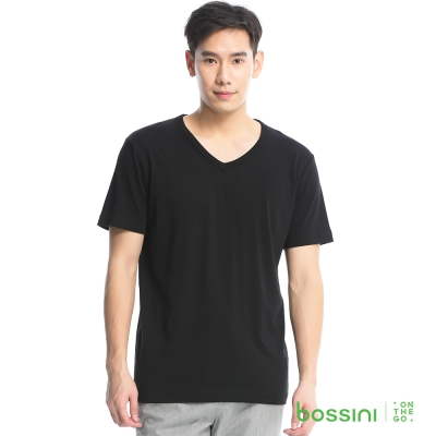 bossini男裝-素色純棉V領T恤12黑