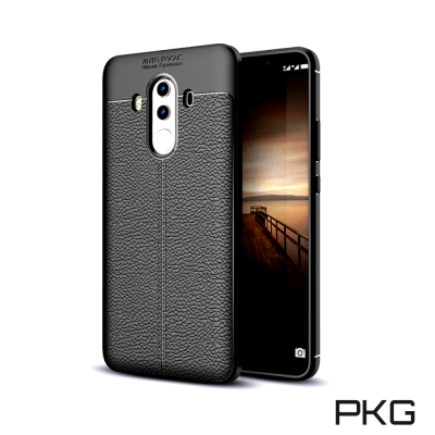 PKG  華為MATE10-Pro 抗震防摔手機殼-抗指紋皮紋系列-黑