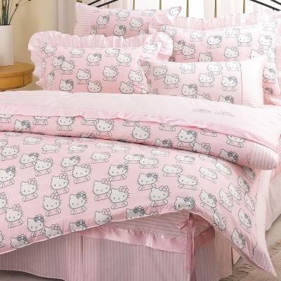 HELLO KITTY 貴族學園系列-精梳棉單人床包薄被套組