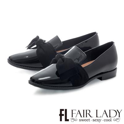 Fair Lady 英倫風蝴蝶結方頭漆皮樂福鞋 黑