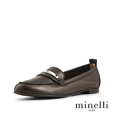 Minelli--金屬裝飾全真皮樂福平底鞋-質感黑