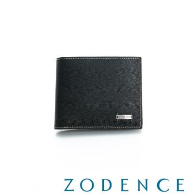 ZODENCE-MAN-紳士系列兩折零錢層短夾-黑
