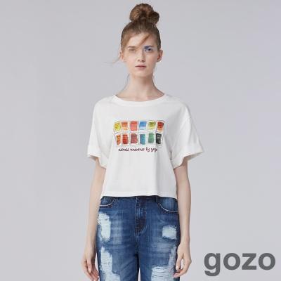 gozo 藝術家系列調色盤短版棉質上衣(二色)