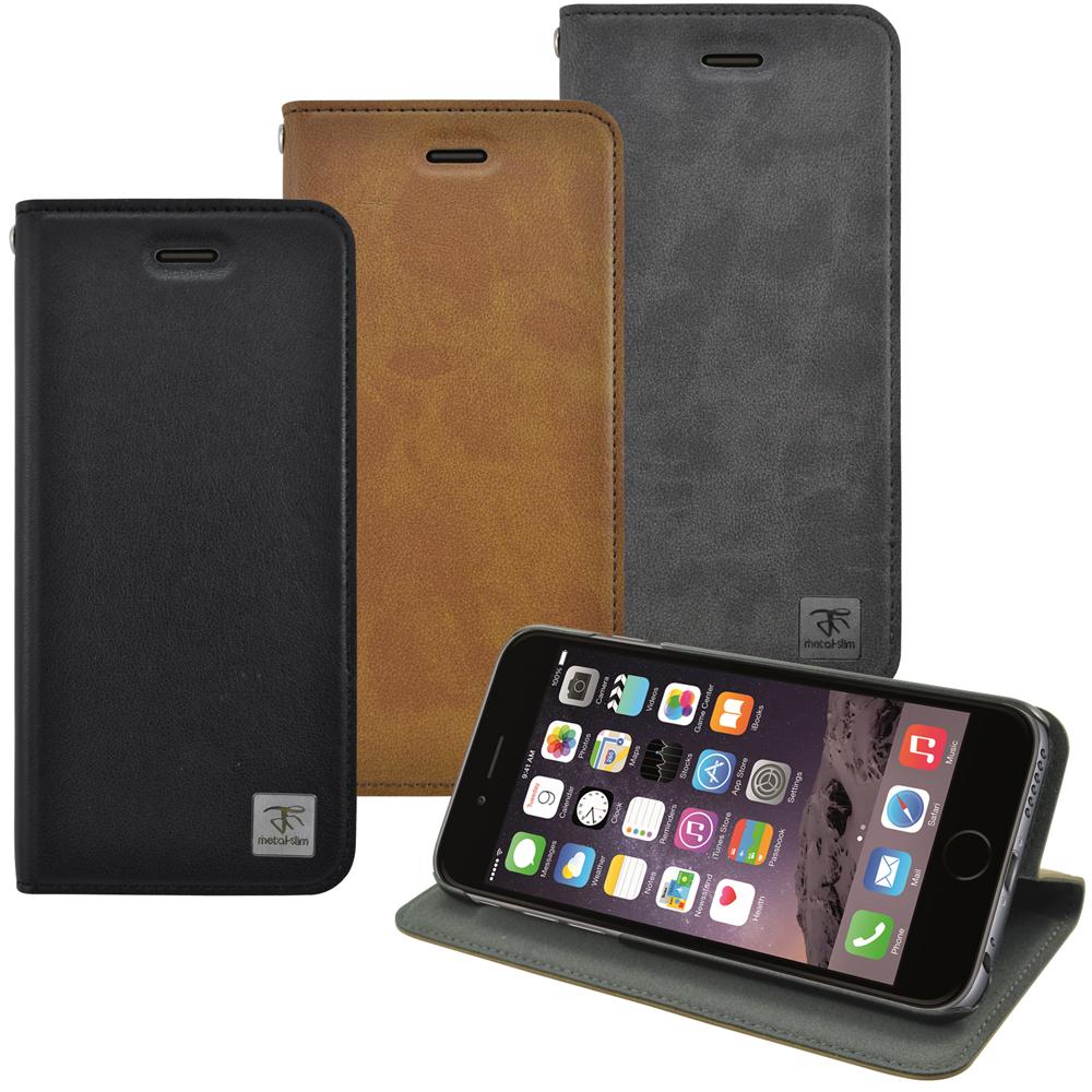 Metal-Slim Apple iPhone 6(4.7)瘋馬紋圓孔設計站立皮套