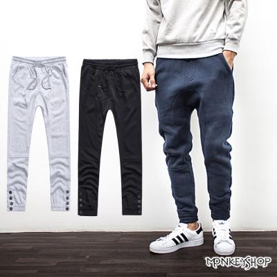 小猴子的賣場 抽繩 褲管四排扣 休閒棉質長褲~3色