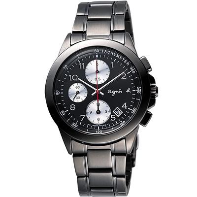 agnes b 閃耀自我三眼計時腕錶-IP黑/40mm