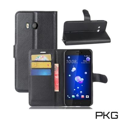 PKG HTC U11側翻式皮套經典皮革系列-黑色