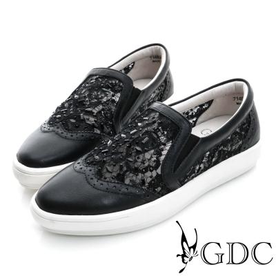 GDC-舒適水鑽蕾絲真皮平底懶人休閒鞋-黑色