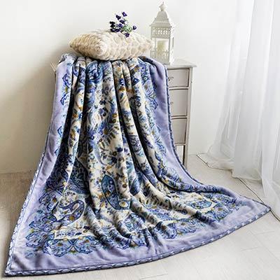 大阪寢屋川 浮光繪影-藍 日製雙層雙人毯