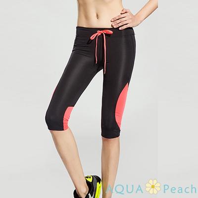 運動褲 拼色設計抽繩七分運動褲 (黑橘色)-AQUA Peach