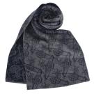 Vivienne Westwood 雙面滿版塗鴉星球羊毛圍巾-黑/灰