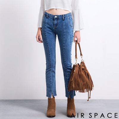 AIR-SPACE-褲管剪裁抽鬚牛仔寬褲-藍