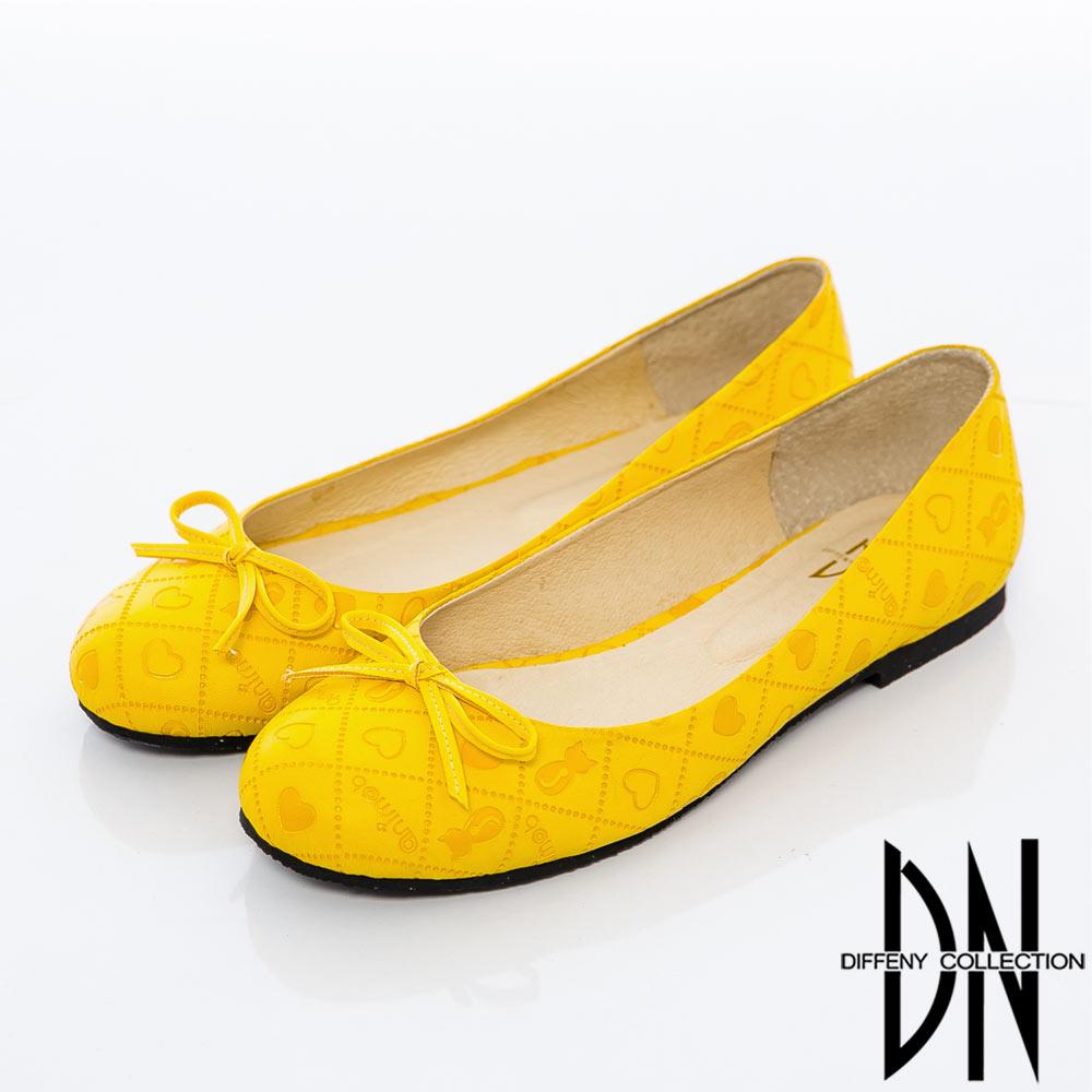 DN 甜心女孩 俏皮可愛拼接菱格娃娃鞋-黃