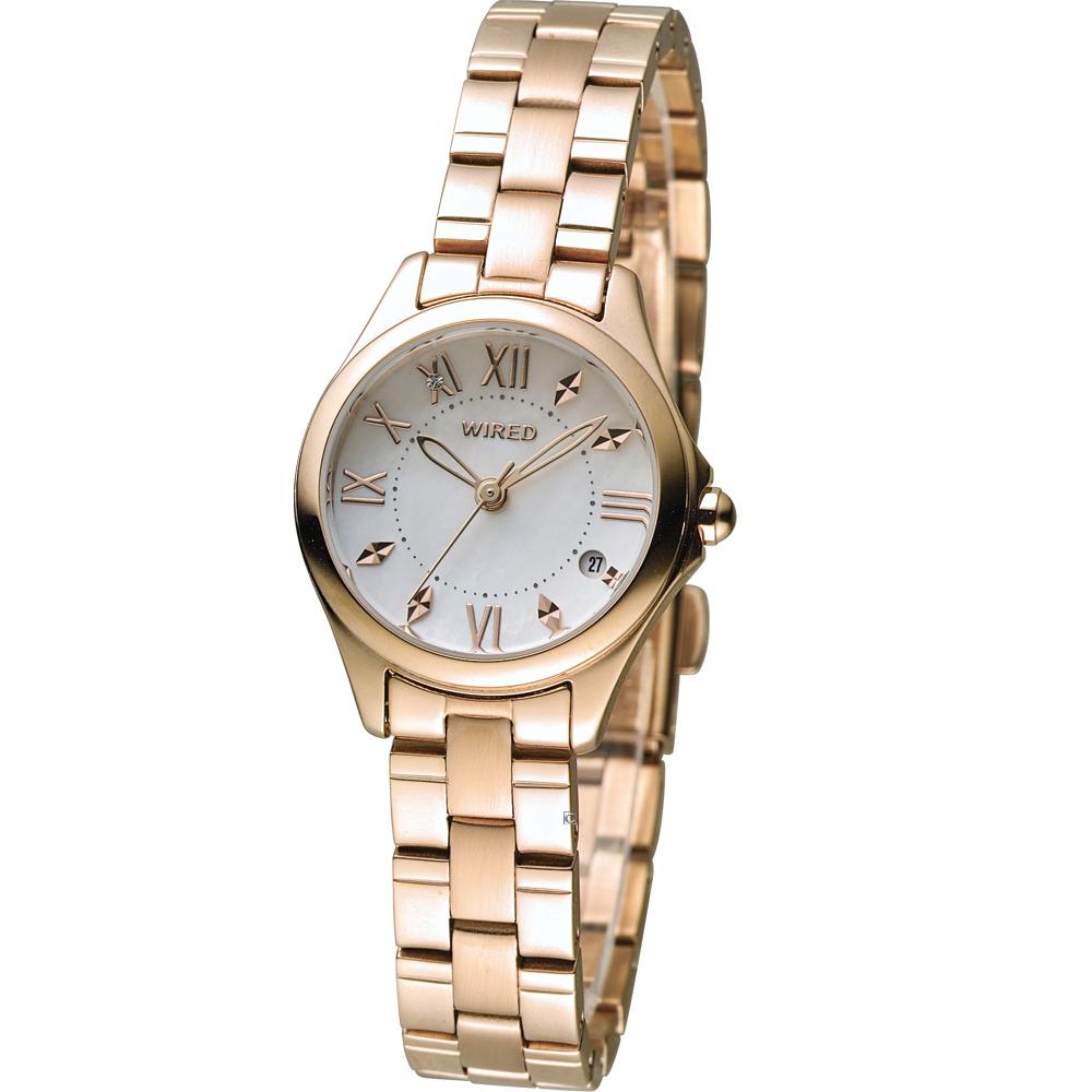 WIRED F 耶誕限定東京女孩簡約時尚腕錶(AH7J20X1)-玫瑰金色/24mm