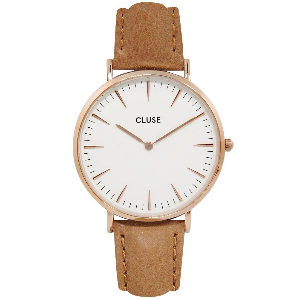 CLUSE 波西米亞玫瑰金系列 白錶盤/焦糖棕色皮革錶帶 38mm