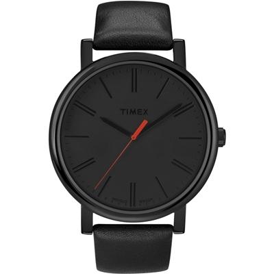 TIMEX 天美時經典復刻冷光系列腕錶-全黑x紅秒針/42mm
