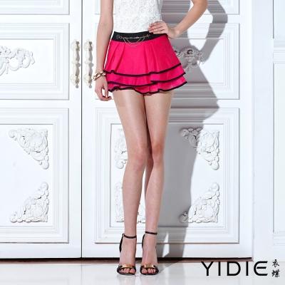 【YIDIE衣蝶】亮麗金屬造型鍊荷葉雪紡短褲