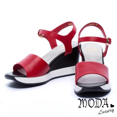 涼鞋 MODA Luxury 簡約寬版字帶牛皮楔型涼鞋-紅