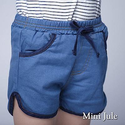 Mini Jule 童裝-短褲 綁帶滾邊造型鬆緊短褲(淺藍)