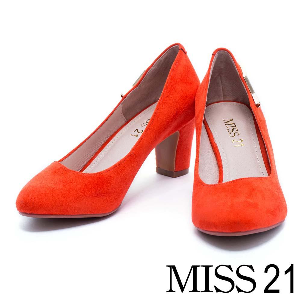 跟鞋 MISS 21 復古金屬小閃電絨布粗跟鞋-橘