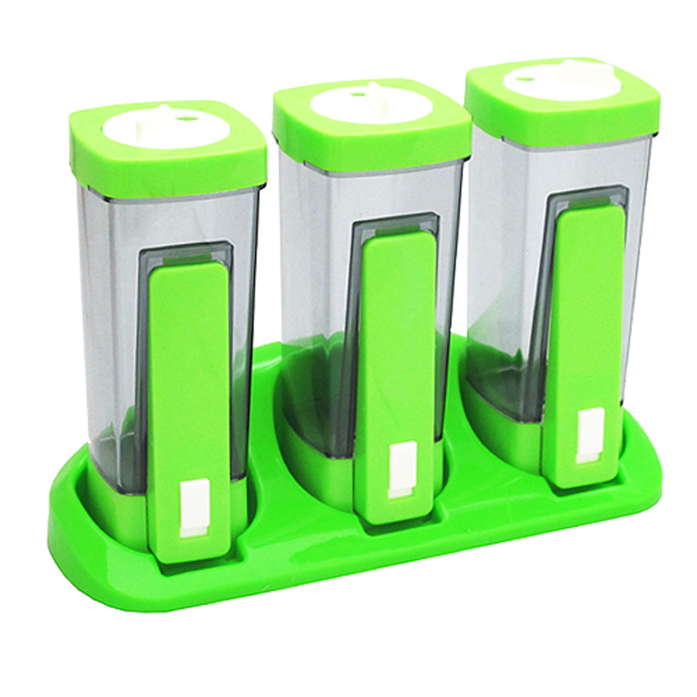 YOLA色彩繽紛健康定量調味瓶座掛兩用三件組(HF122)