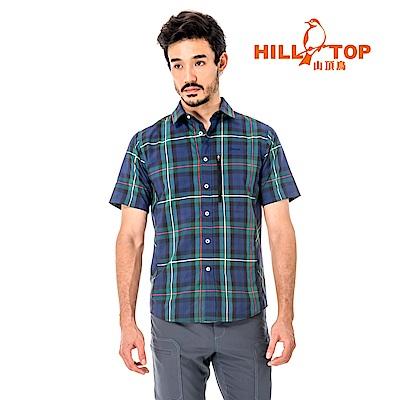 【hilltop山頂鳥】男款吸濕排汗抗UV短襯衫S06M64-綠格紋