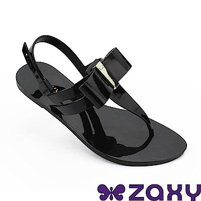 Zaxy 巴西 女 煥彩時光平底T字涼鞋-黑色