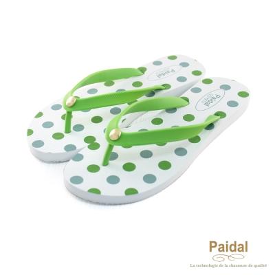 Paidal 熱力圓點點海灘拖鞋人字拖鞋-綠