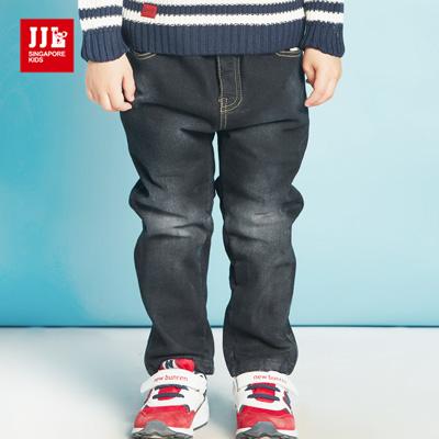 JJLKIDS 復古刷白內刷毛牛仔褲(藏青)