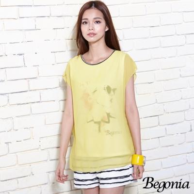 Begonia 假兩件雪紡潑彩莫代爾棉上衣(共二色)