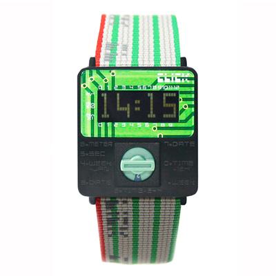 CLICK TURN 復古電路板個性電子腕錶(綠黑)