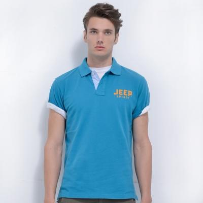 Jeep 純色經典POLO衫-天空藍