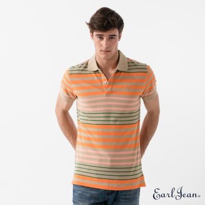 Earl Jean 涼感條紋POLO衫-橙-男