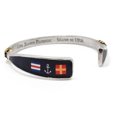 Kiel James Patrick 美國手工船錨 國旗船錨圖騰天然軟木可調節手環