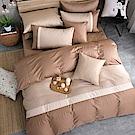 OLIVIA COLORS 《英式簡約系列 咖啡 淺米 可可》雙人四件式兩用被全舖棉床包組