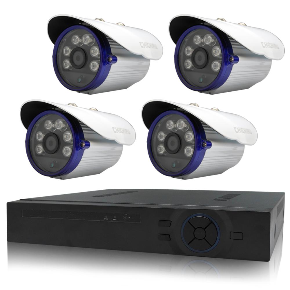 奇巧 4路AHD數位高清遠端監控套組(含6陣列燈百萬畫素攝影機x4)