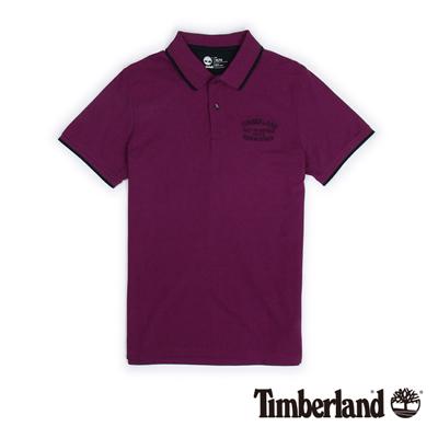 Timberland-男款紫紅色刺繡雙色短袖Polo衫