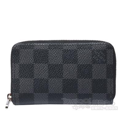 LV-N63076棋盤格拉鍊名片零錢包-黑灰
