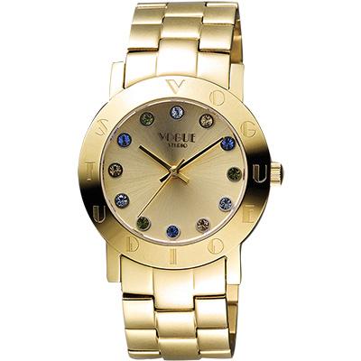 VOGUE 繽紛彩色晶鑽腕錶-金/36mm
