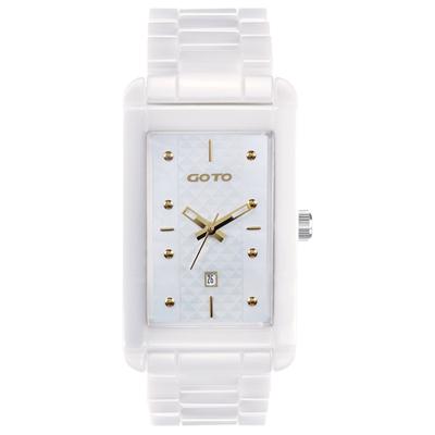 GOTO Unique 陶瓷時尚腕錶-白x金/27.5mm