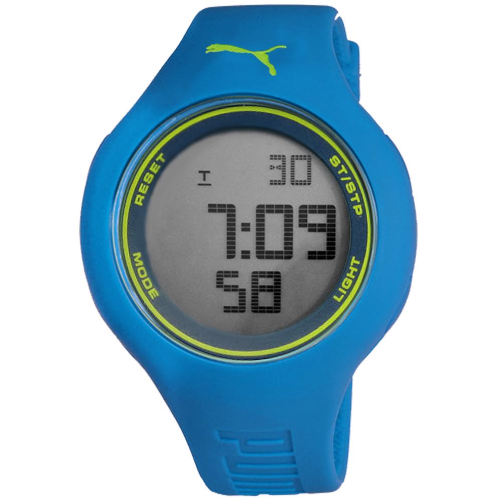 PUMA 陽光信號電子腕錶-淺藍x黃/45mm