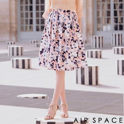 AIR SPACE 聯名渲染花朵打褶傘襬及膝裙(粉紅)